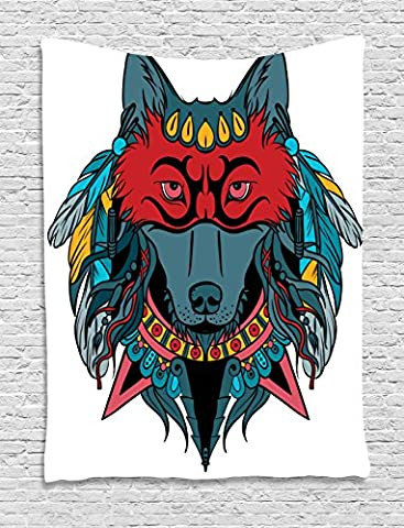 Tribal Tapestry by Ambesonne, Indian Warrior Wolf Portrait with Mask Feathers Native American Animal Art, Wall Hanging for Bedroom Living Room Dorm, 60 W x 80 L Inches, Teal White and - Native American Art Masks