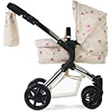 Roma Darcie Single Dolls Pram in Cream, Suitable From 3 to 9 Years, Adjustable Handle Height, 2-In-1 Seat Unit / Carry Cot, Dolly Toy Stroller Christmas, Ideal Reborn Dolls