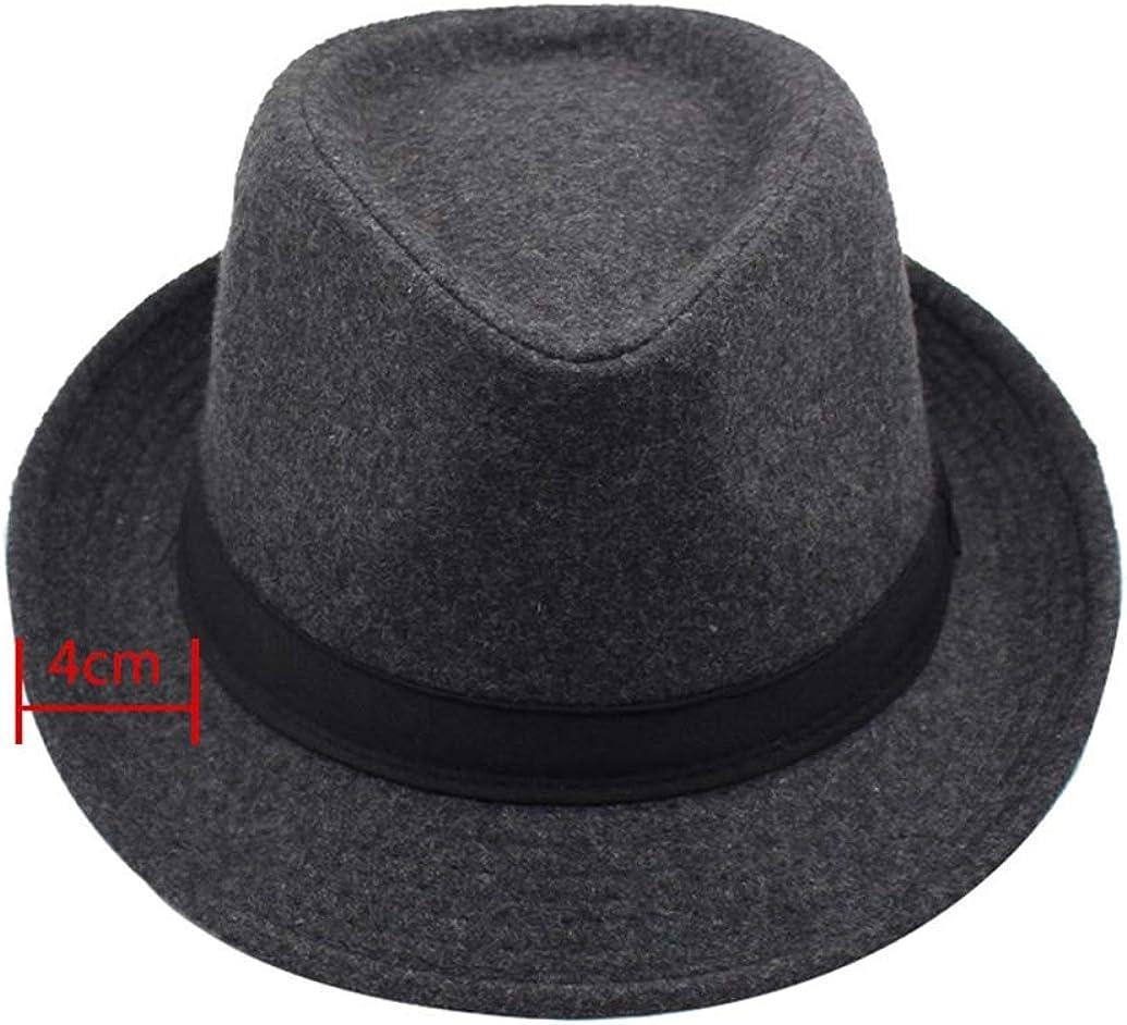 Mens Fedora Hat Unisex Vintage Timeless Wide Brim Wool Felt Jazz Hat Trilby Cap with Black Band