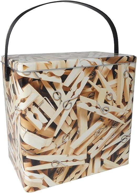Vintage Retro Diseño de pinzas Metal pinzas Ropa Caja de almacenamiento con tapa: Amazon.es: Hogar