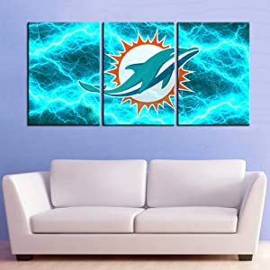 Native American Decor Football Pictures Living Room House Decoration Patriotic Painting 3 Piece Canvas Wall Art Miami Dolphins Team Artwork Poster and Prints Framed Ready to Hangs(42''W x 20''H)