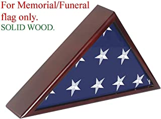 product image for Solid Wood Memorial Flag Case Frame Display Case for 5x9.5' Flag Folded for Funeral or Burial Flag
