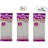 Set of 3 Darice 28-003V 4-Inch-by- 9-Inch Clear Treat Bag 60-Piece Pack