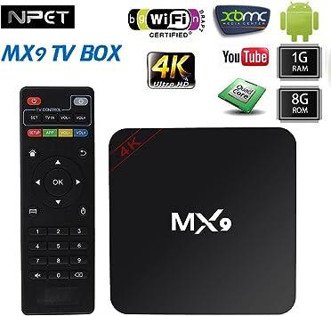npet 4 K MX9 Rock de chips Quad Core rk3229 Android 4.4 Smart TV Box Kodi (XBMC) 1 GB/8GB: Amazon.es: Electrónica