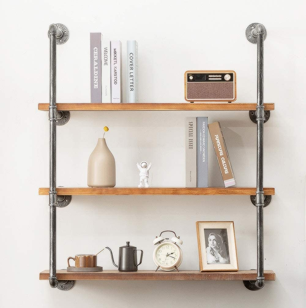 DOFURNILIM Industrial Iron Pipe Wall Shelf Shelves Shelving Brackets Vintage Retro Black DIY Open Bookcases/Floating Shelves/Storage Office Home Kitchen (3-Tier with 35.4