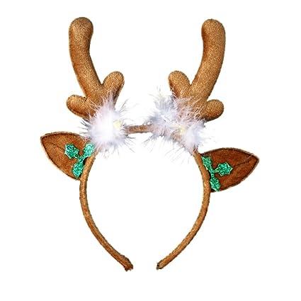 Las niñas Navidad cuernos de reno de fieltro de color marrón y ...