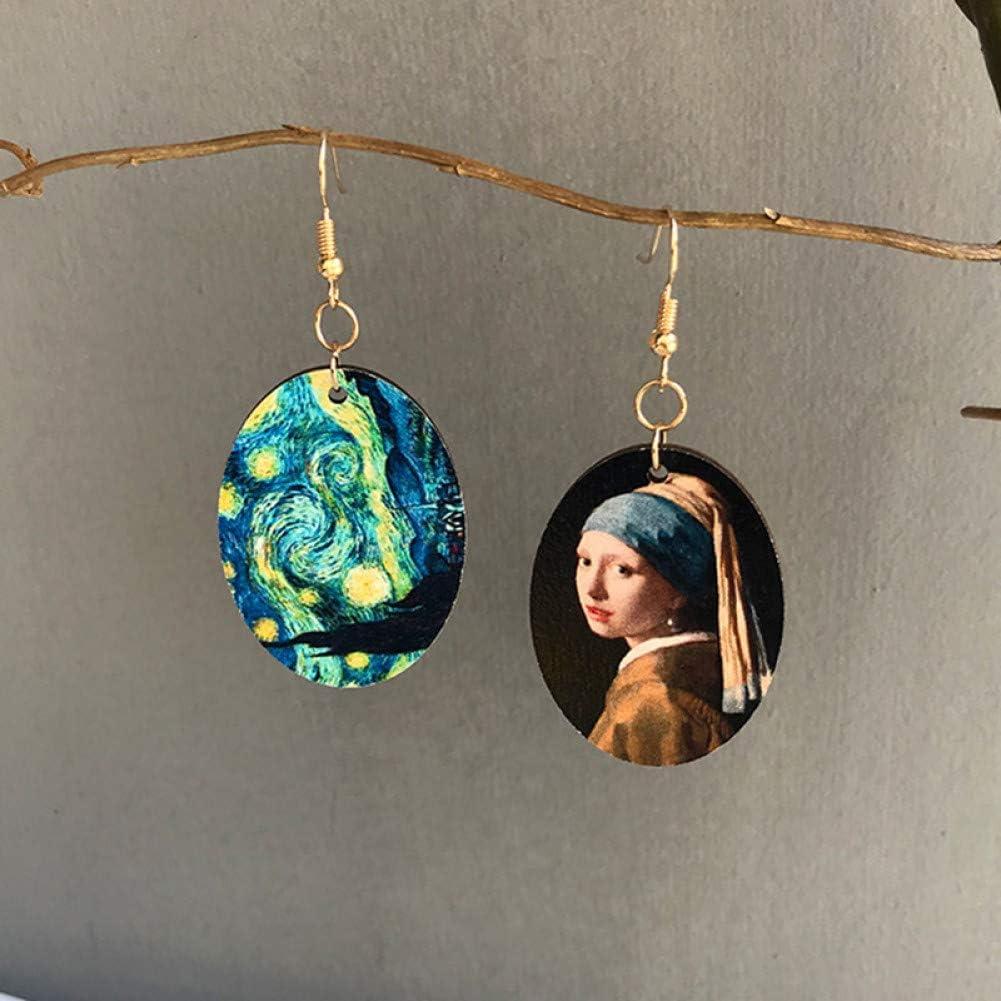 ZHQJY Chica con Forma Ovalada asimétrica con Perla Van Gogh Pintura al óleo Cielo Estrellado cuelga los Pendientes para MujerPendiente