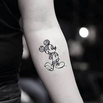 Amazoncom Mickey Mouse Draft Temporary Fake Tattoo Sticker Set Of