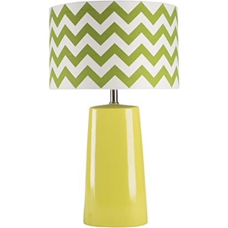 Charming 24u0026quot; Lime Green Table Lamp With Green And White Chevron Modified Drum  Shade