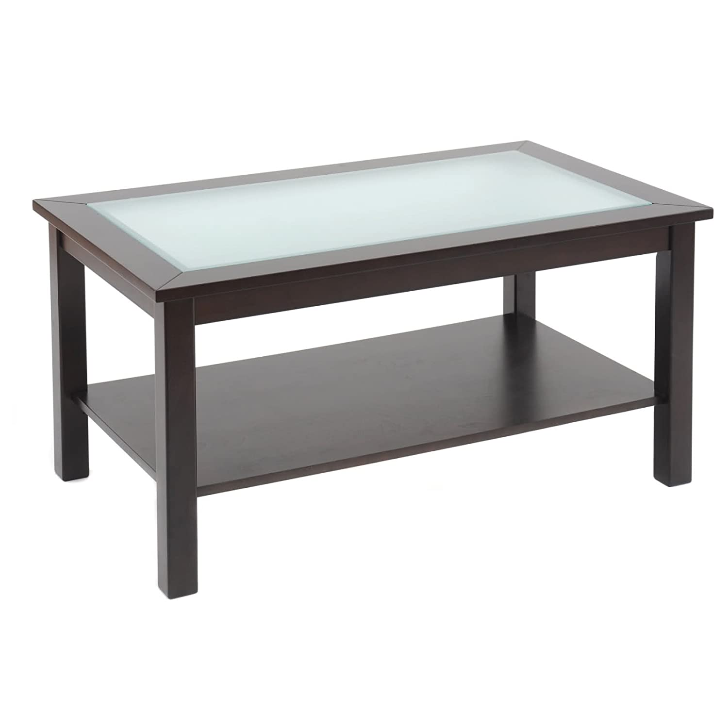 Amazon.com: Bay Shore Collection Coffee Table with Glass Insert Top and  Lower Shelf, Espresso: Kitchen & Dining - Amazon.com: Bay Shore Collection Coffee Table With Glass Insert