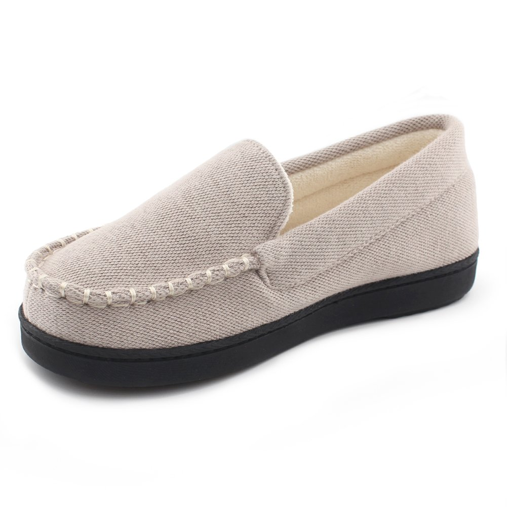 Cozy Niche Women's Moccasin Slippers, Anti-Slip House Shoes, Indoor Outdoor Rubber Sole Loafers (9 B(M) US, Beige)
