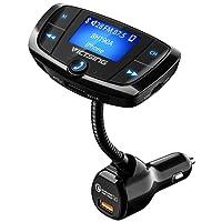 """Transmetteur FM Bluetooth VicTsing Adaptateur Radio Bluetooth Sans Fil Voiture avec Grand Ecran 1,44"""", Appels Mains Libres, Charge Rapide QC3.0 et Ports USB Doubles Intelligents, Lecture de Musique via Bluetooth, Disque U et Carte TF"""