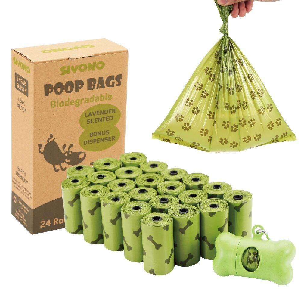 SIVONO Dog Poop Bags Biodegradable Pet Waste Bags Dispenser Leash Clip,Lavender Scented, Leak-Proof 24 Refill Rolls/360 Counts