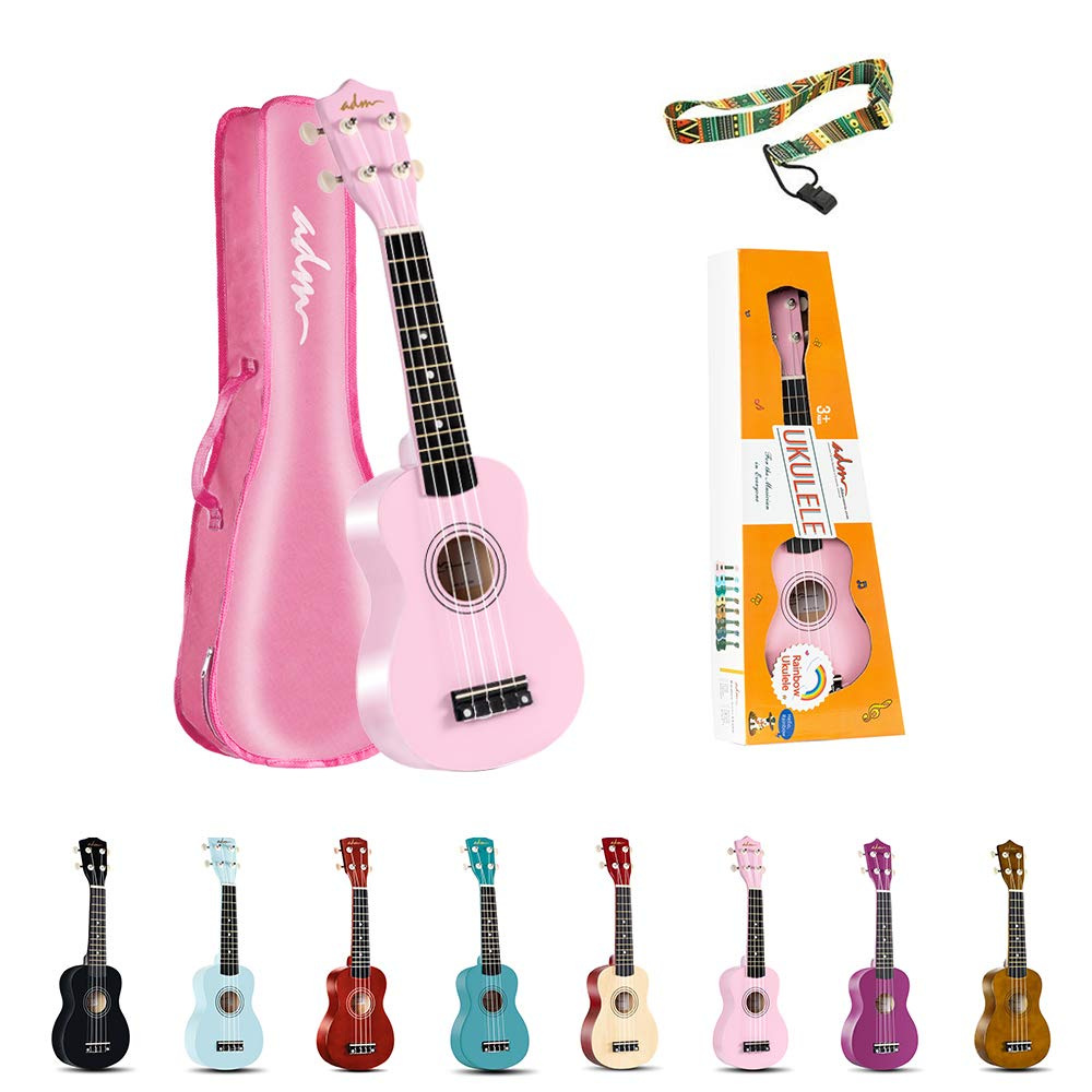ADM Soprano Ukulele for Kids Beginners 21 Inch with Uke Starter Pack Kit, Gig Bag and Strap