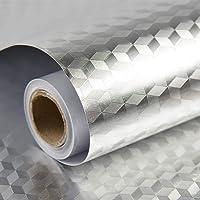 Homeme Aluminum Foil Contact Paper, 500 x 60cm Self-Adhesive Kitchen Wallpaper Decorative Removable Wallpaper with PVC…