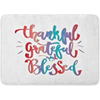 Bath Mat Flannelette Fabric Soft Absorbent Thankful Grateful and Blessed on Hand Lettering Modern Inspirational Cozy…