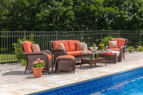 La-Z-Boy Outdoor Sawyer 6 Piece Resin Wicker Patio Furniture Conversation Set (Grenadine Orange) with All Weather Sunbrella Cushions - Relax in comfort with this beautiful outdoor patio furniture set. Perfect for deck, porch, firepit,and poolside conversation and drinks. Quick-drying deep seat cushions are covered in a high-performance Sunbrella fabric that allows for superior durability and colorfastness in all types of outdoor settings. All-weather textured resin wicker patio furniture weave with powder coated rust-resistant steel frame. - patio-furniture, patio, conversation-sets - 61nl95Bu 3L -