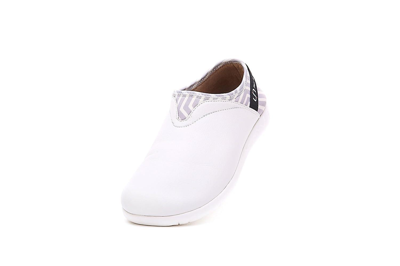 UIN Women's Verona Simple Microfiber Slip-On Shoes White