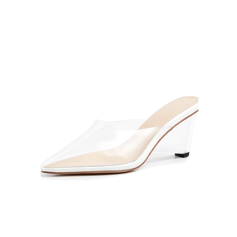 White Transparent Unusual Heel High Slippers Woman Pointed Toe Footwear,