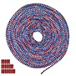 25 Foot Length Ball Chain, #6 Size, American Splash (Red, White, Blue), & 25 Connectors