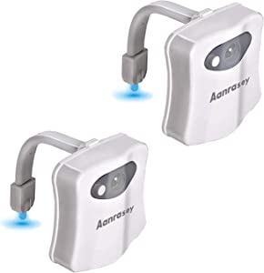 Aanrasey Toilet Night Light, Toilet Bowl Light, Motion Sensor Activated LED Night Light, 8-Color Toilet Light up for Bathroom Decor, Kids Bathroom Set Cool Stuff (2 Pack)