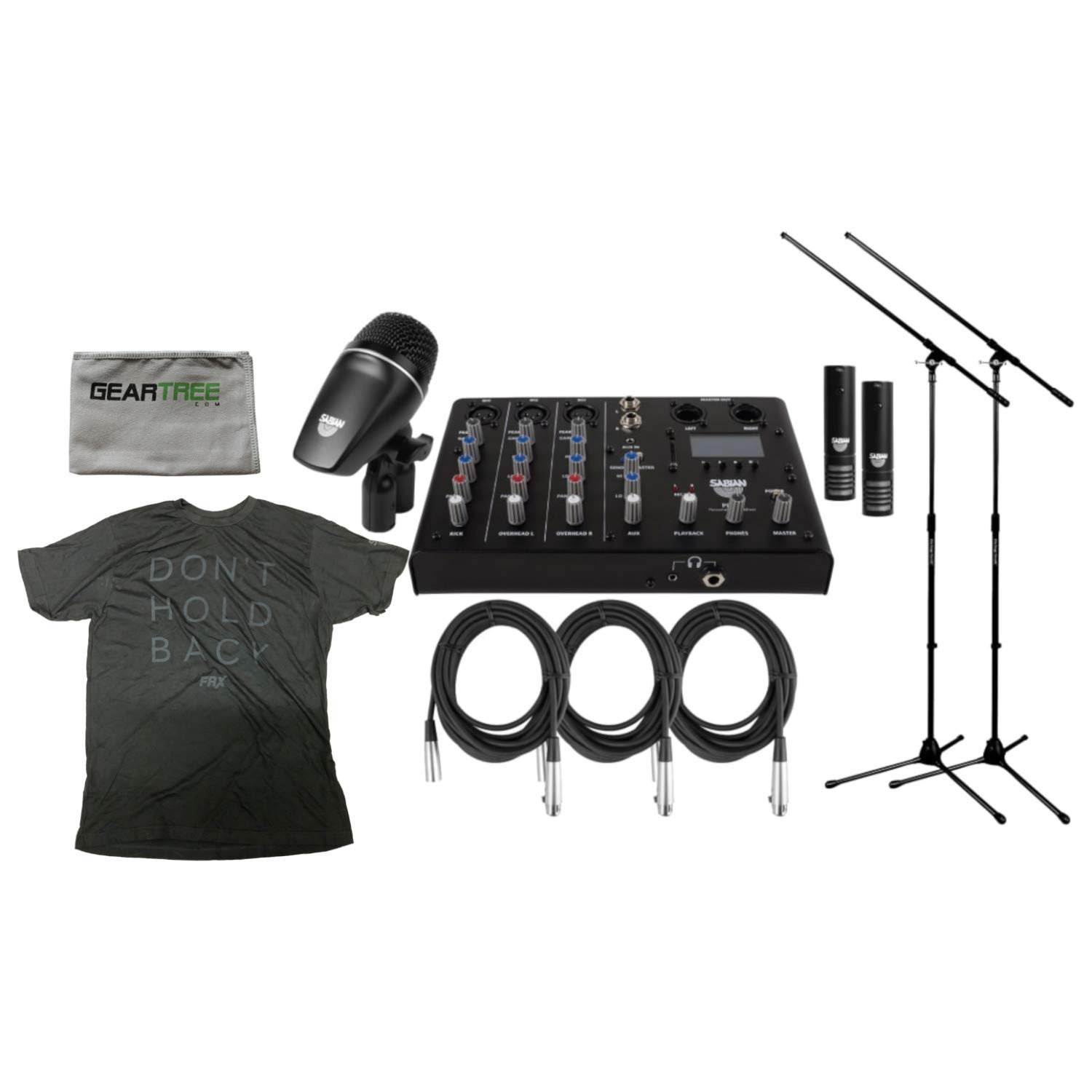 Sabian SSKIT 4 Piece Drum Mic & Mixer Kit w/ 2 Mic Boom Stands and 3 XLR Mic Cables by Sabian
