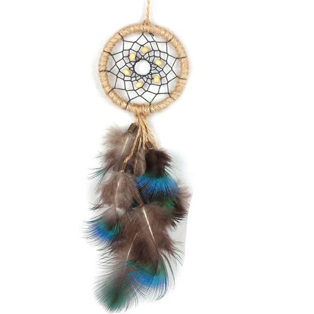 Ouneed® Plume Cercle de Attrape-rêves Chambre Deco Hibou de Paille (A 30cm)