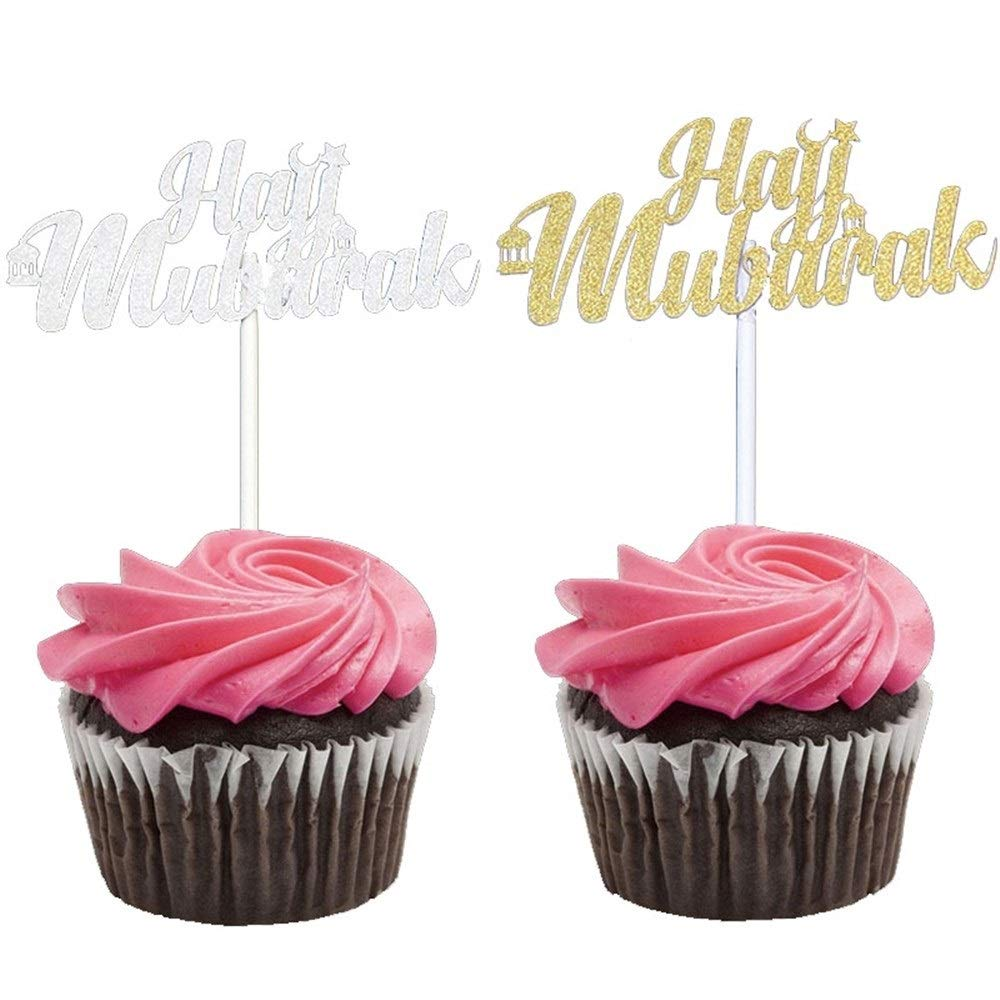 BeTyd 50Pcs Gold Sliver Laser Cut Hajj Mabrour Paper Cupcake Toppers,Happy Eid Candy Box,Islamic Eid Mubarak Party Decoration Supplies ( Color : 3 Style ) by BeTyd (Image #4)