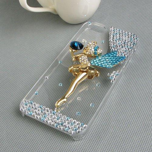 JewelryWe Für Iphone 5 5S Hülle Schale Tasche Etui Strass Engel Ballett Mädchen Case Cover Transparent Blau/Lila