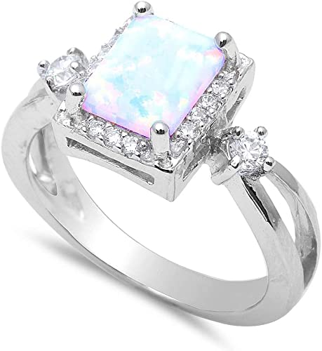 White Opal /& Cz .925 Sterling Silver Ring Sizes 3-12