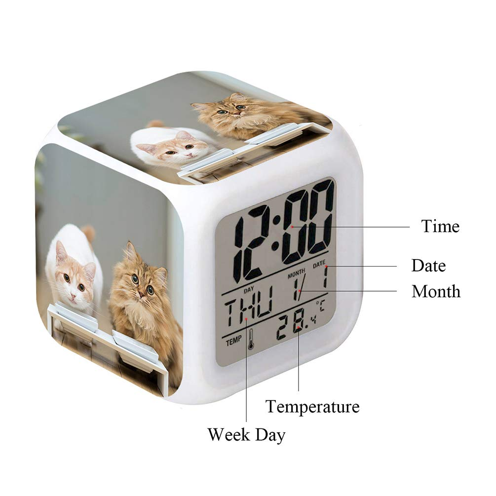 Cointone Led Alarm Clock Cat Pet cute Design Creative Desk Table Clock Glowing Electronic colorful Digital Alarm Clock for Unisex Adults Kids Toy Birthday Present Gift