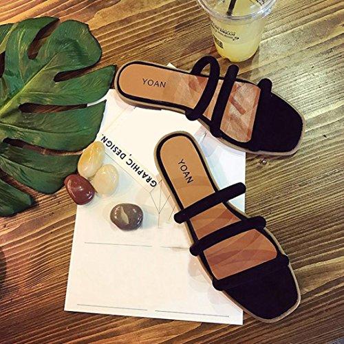 Sandali nbsp; Casuale SamMoSon Piatto Donna Nero Strass Toe Sandali Peep Tacco Roma di da Stile Scarpe dI1Fw1qx8