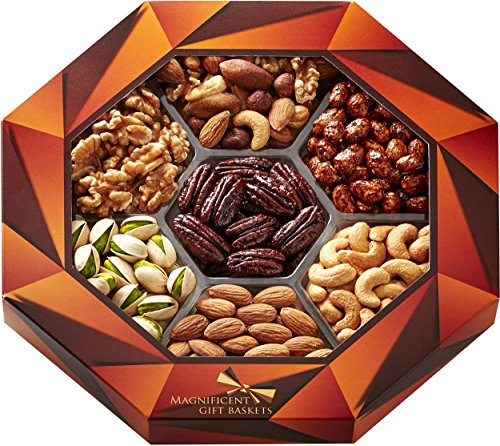 Magnificent Gift Baskets Gourmet Food Nuts Holiday Gift Basket, 7 Different Delicious Nuts (Dad Birthday Gift Basket)