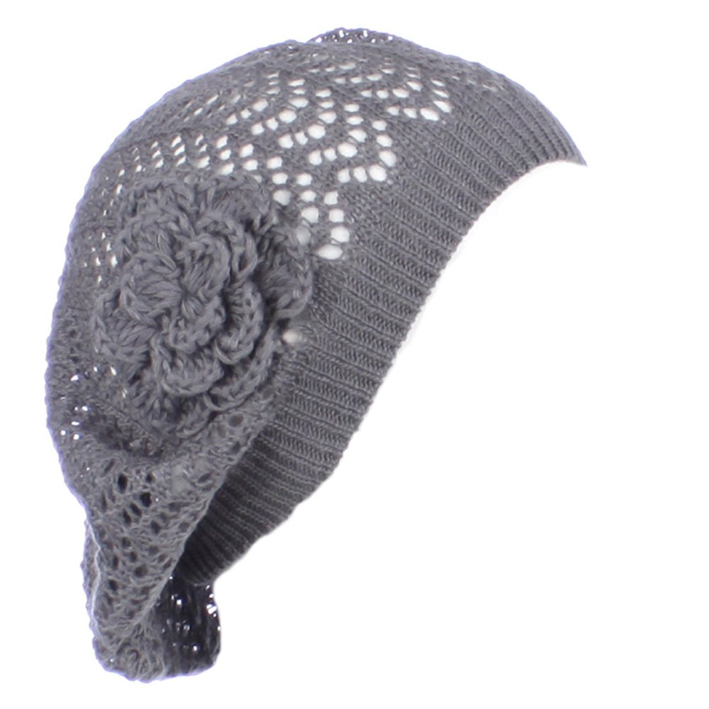 AN- Womens Fashion Lightweight Cutout Crochet Knit Beret Beanie Hat w/ Flower , Various Patterns (Dark Gray Net)