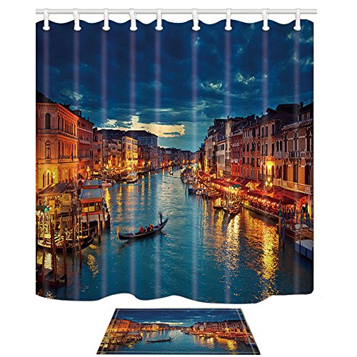 Canal Tropical Rug - NYMB European Cityscape Decor, View on Grand Canal from Rialto Bridge at Dusk in Venice Shower Curtain with Bath Rugs, Mildew Resistant Polyester Fabric Bathroom Bath Curtains with Hooks,69X70in