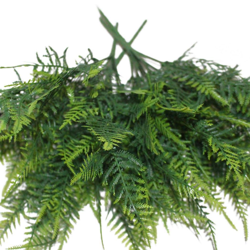Ameesi 35 Leaves Artificial Emulation Asparagus Fern Bush Green Foliage Party Decor