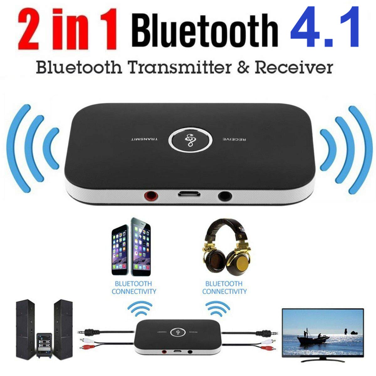 2in1 Bluetooth Transmitter Receiver Wireless Receptor Sound Stereo Audio Adapter