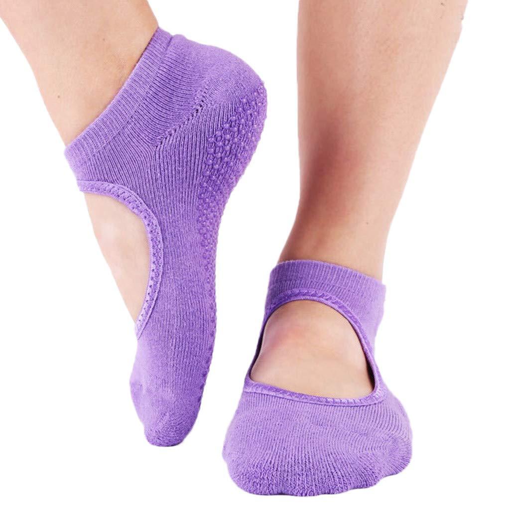 Ballet Non Skid Socks for Women Non Slip Grip Yoga Socks Sports Socks Exercise Gym Socks for Dance (A)