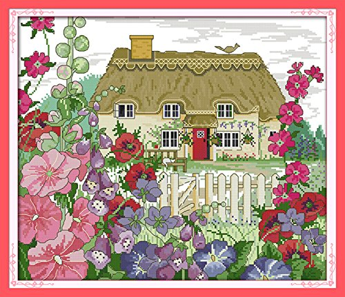- AngelGift Needlecrafts Stamped Counted Cross Stitch Set, Scenery - Morning Glory Cottages
