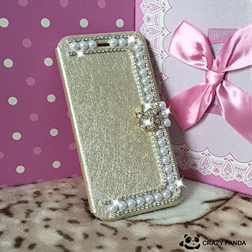 """Crazy Panda Deluxury IPHONE 6 pearl Case - 3D Bling Crystal Rhinestone Wallet Leather Purse Flip Card Pouch Stand Cover Case For Iphone 6 4.7"""" (light golden)"""