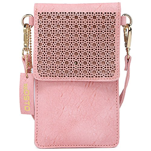 seOSTO Small Crossbody Bag, Cell Phone Purse Smartphone Wallet with 2 Shoulder Strap Handbag for Women (pink) by seOSTO (Image #1)