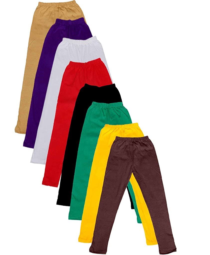 Pack of 8 Indistar Big Girls Cotton Full Ankle Length Solid Leggings -Multiple Colors-5-6 Years