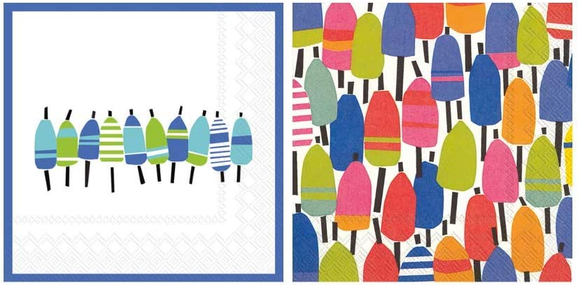 Scout and Company Buoyline and Buoys Nautical Boating Dock Set Bundle Cocktail Napkins - Cute Designer Cocktail Napkins 3-ply, 40 count - For Barware, Beverage Serviettes and Cocktail Party