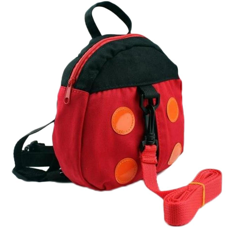 Yevison Toddler Children Anti Lost Backpack with Walking Reins Baby Safety Harness Rucksack Kids School Shoulder Bag with Detachable Strap for Boys Girls - Ladybird Pattern - Red Durable and Useful
