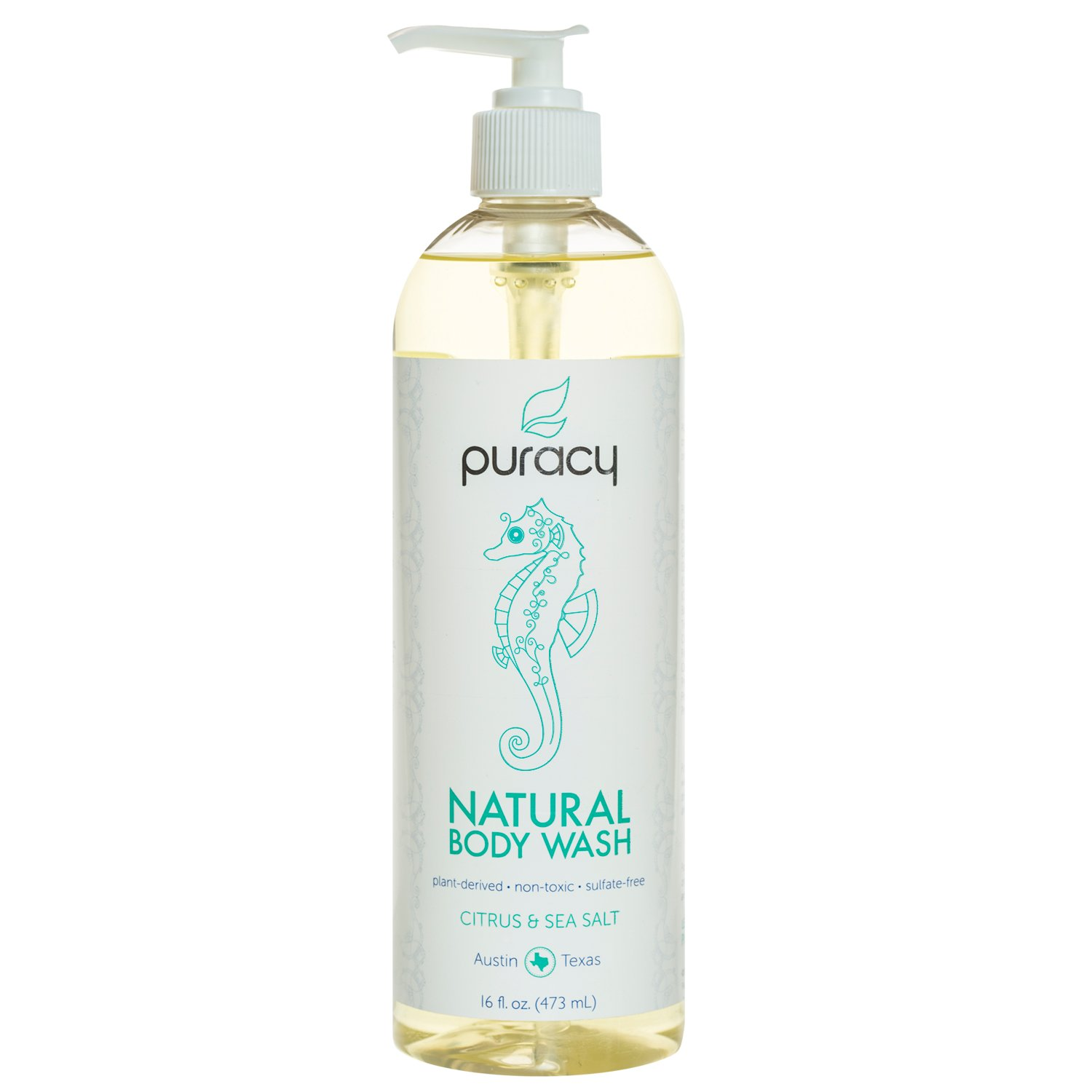 Puracy Natural Body Wash, Sulfate-Free Shower Gel and Daily Cleanser, Citrus and Sea Salt, 473 mL PBW16-1