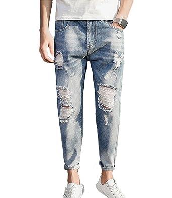Huateng Pantalones Vaqueros Sueltos para Hombre Jeans Rips ...