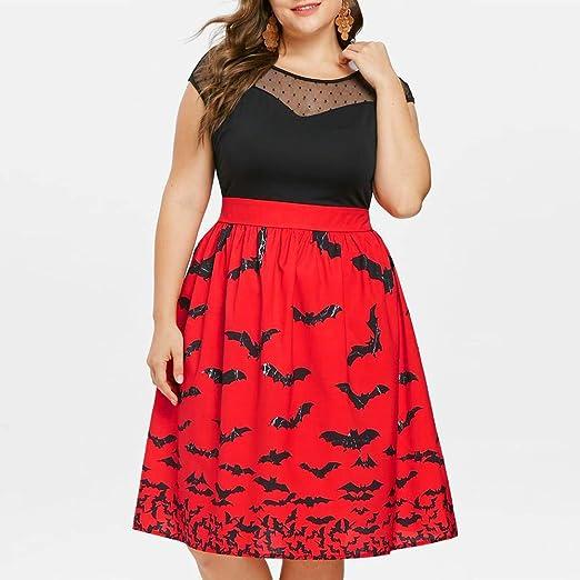 Vestidos Largos, Mujer 2018 Vintage Mujer Rayado Vestidao, Vestido Fiesta Mujer Largo Boda, JYC, Mujer de Halloween Fiesta Murciélago Impresión Retro Cordón ...