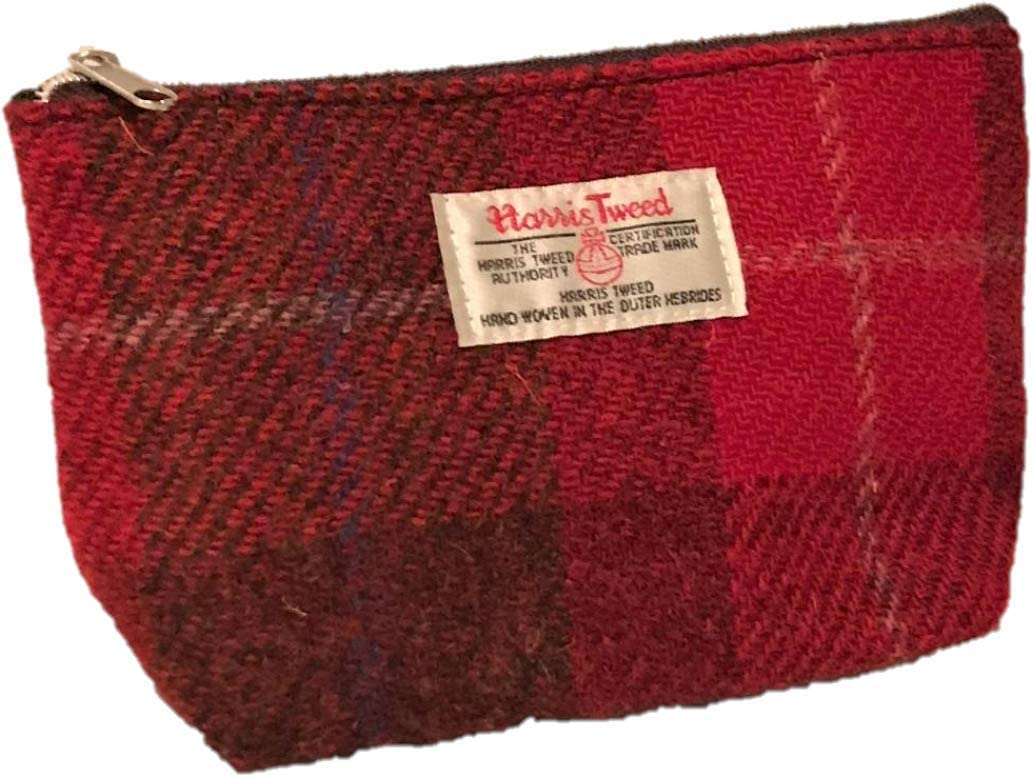 HARRIS TWEED PURSE MAKE UP POUCH COSMETIC BAG PENCIL CASE TARTAN PINK / RED
