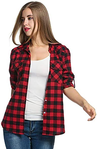 QinMM Camisa de Cuadros de otoño para Mujer, botón Blusa de Moda Casual Camiseta Tops (L (EU38), Rojo): Amazon.es: Ropa y accesorios