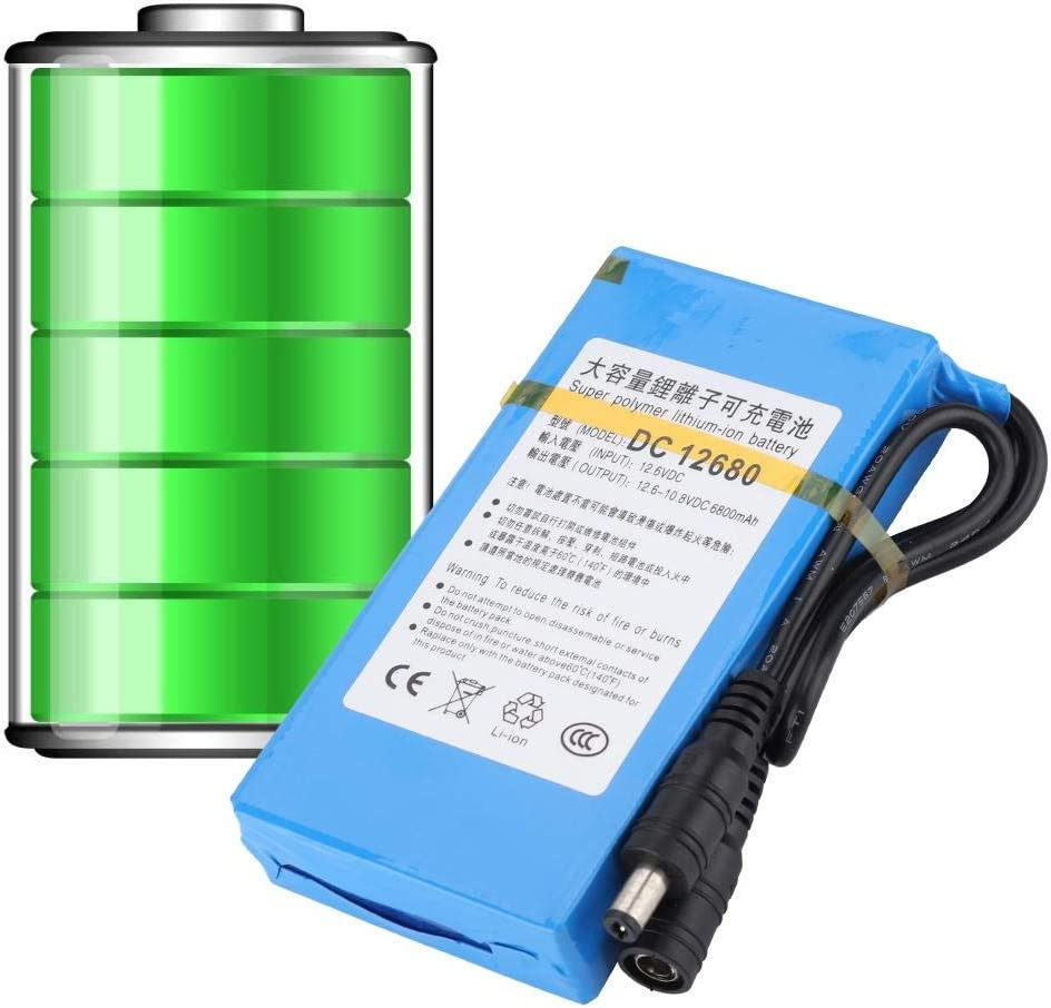 UK Plug DC 12680 6800mAH Large Capacity Built-in Switch for 3.7V 5V 8.4V 12V BTIHCEUOT Replacement Polymer Lithium Battery